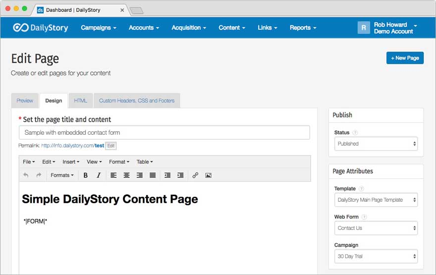 Content Page Create with Lead Capture Form