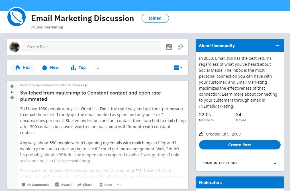 Email marketing reddit